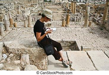 Tourist in ancient Jerash , Jordan