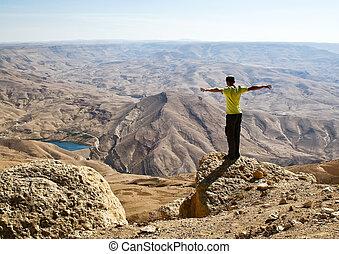 tourist, in, berg, von, jordanien