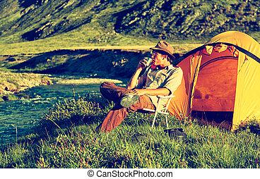 Tourist in camp