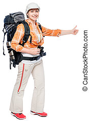 tourist in checkered shirt with a backpack on a white background