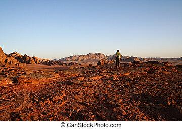 Tourist in desert Wadi Rum. Jordan