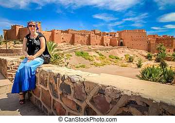 Tourist in front of Kasbah