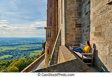 Tourist in Hohenzollern Castle in Germany - Tourist in ...