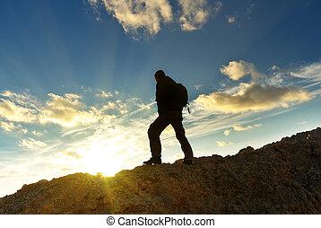 Tourist in mountain