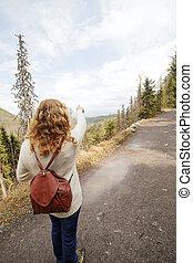 Tourist in mountain.