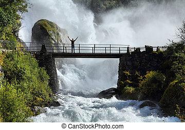 tourist, in, norwegen