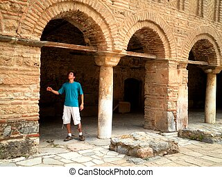 Tourist in Ohrid Macedonia - Tourist exploring historical...