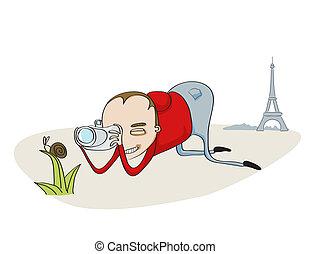 Tourist in Paris - Illustration of Tourist in Paris taking...