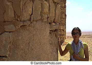 Tourist in Qasr al Kharanah, Jordan