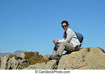 Tourist in the Corsican high mountains