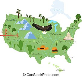 Tourist infographics about America. Cartoon map of USA. Travel illustration with landmarks, buildings, food and plants. National symbols. Famous attractions. Vector illustration