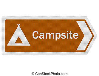 Tourist Information Series: Campsite sign, isolated