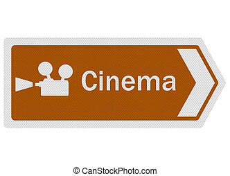 Tourist Information Series: Cinema sign, isolated