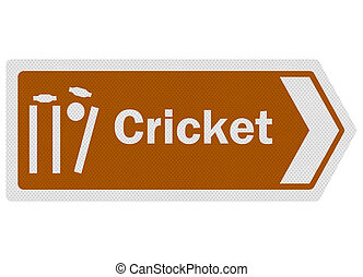 Tourist information series: photo-realistic metallic, reflective 'cricket' sign, isolated on white