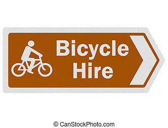 Tourist information series: photo-realistic metallic, reflective 'bicycle hire' sign, isolated on white