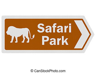 Tourist information series: photo-realistic 'safari park' sign