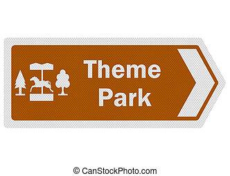 Tourist information series: photo-realistic metallic, reflective 'theme park' sign, isolated on white