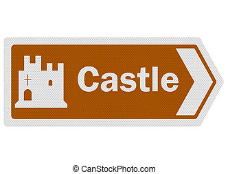 Tourist information series: photo-realistic 'castle' sign