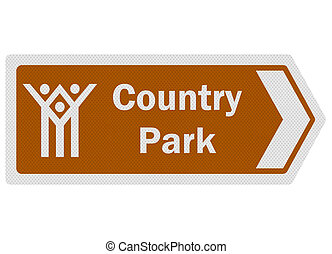 Tourist information series: photo-realistic metallic, reflective 'country park' sign, isolated on white