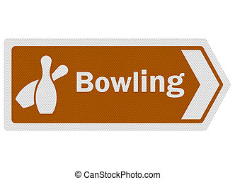 Tourist information series: photo-realistic metallic, reflective 'bowling' sign, isolated on white