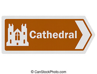 Tourist information series: photo-realistic 'cathedral' sign