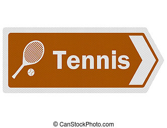 Tourist information series: photo-realistic metallic, reflective 'tennis' sign, isolated on white