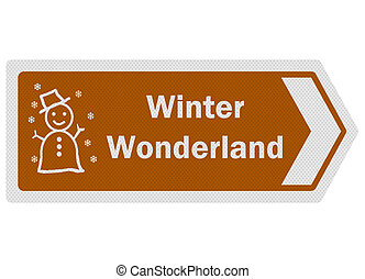 Tourist information series: photo-realistic metallic, reflective 'winter wonderland' sign, isolated on white