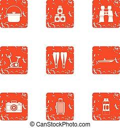 Tourist itinerary icons set, grunge style - Tourist...