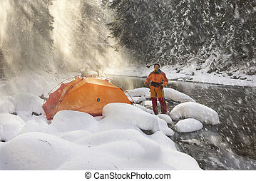Tourist journey in a snowy canyon.