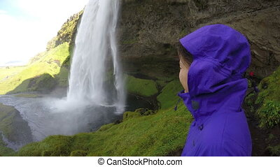 Tourist Looking At Spectacular Waterfall Iceland - Tourist ...