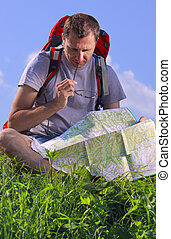 Tourist looking on map