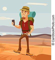 Tourist man character using smart phone. Vector flat cartoon illustration