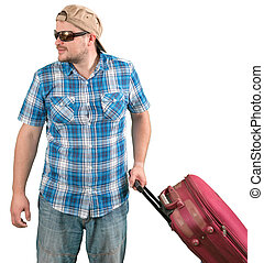 Tourist man in sunglasses standing with suitcase on white background