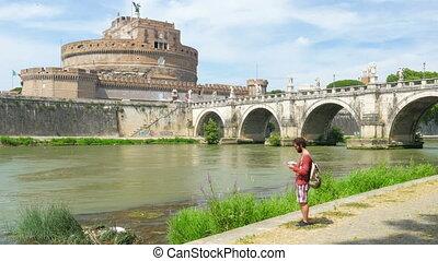 """tourist man traveling around rome, italy"""