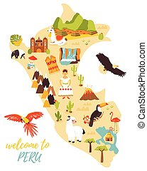 Tourist map of Peru with different landmarks.