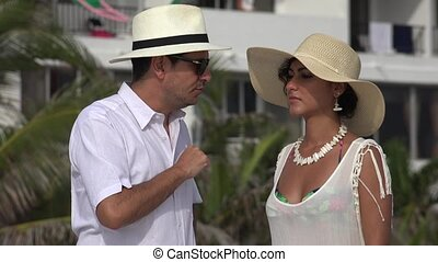Tourist Married Couple Arguing Or Disagreeing