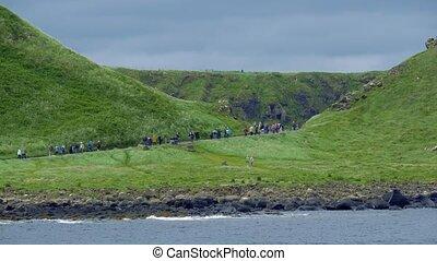 tourist, masse, auf, riesig, damm, nordirland, -, eingestuft, version