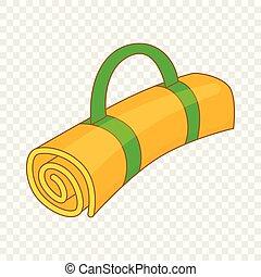 Tourist mat icon, cartoon style