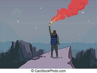 tourist, mit, der, leuchtsignal, auf, a, berg, gleichfalls, schauen, von, der, top., wanderer, auf, a, rock., fackel, in, hand., berglandschaft, in, der, twilight., sternen, und, der, moon., vektor, abbildung, karikatur, character.