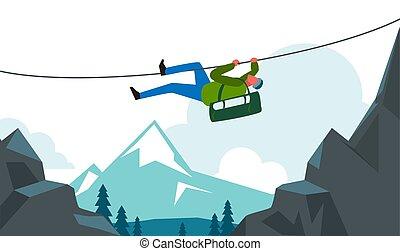 tourist., mountian, ハイキング, ロープ, 冒険, 使うこと, 風景