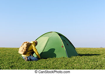 Tourist near his tent