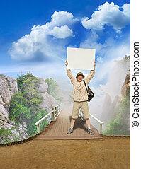 tourist on a landscape