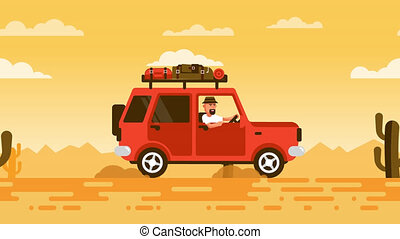 Tourist on an SUV rides through the desert with cacti. Car...