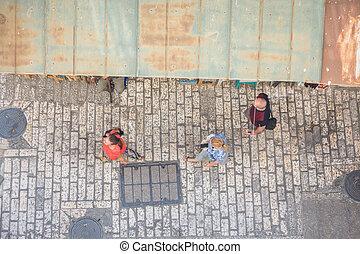 Tourist on narrow street of Jerusalem, Israel