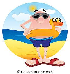 Tourist on the beach - Man on the beach with lifesaver...