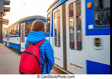 Tourist on the tram station