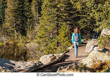 Tourist on trail near Bear Lake in Colorado
