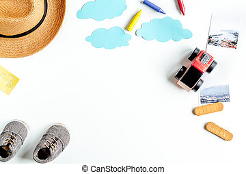 tourist outfit for trip with kids on white background top view mockup