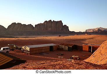 Tourist parking in desert Wadi Paradise , Jordan