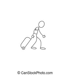 Tourist passenger with rolling bag stick figure icon vector,